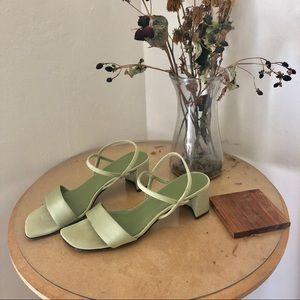 Minimalist mint strappy heeled sandals